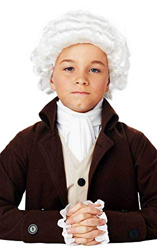 18Th Century Founding Father Colonial Imperial White Powdered Wig Child Boys ()