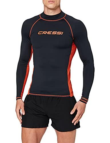 Cressi Rash Guard Man Long SL Camiseta Mangas Largas, en Tejido Elástico Especial, Protección Solar UV (UPF) 50+, Hombres, Negro/Naranja, M