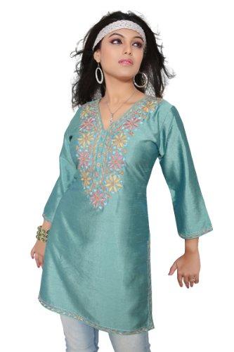 Island Green 3/4-sleeve Kurti/ Tunic with Designer Embroidery (India) - Medium ()