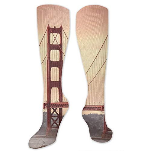 (HFJDLSK Golden Gate Bridge San Francisco California Socks Athletic Over The Calf)