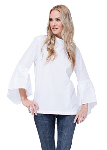 Pleione Linen Bell Sleeve Mock Neck Shirt Blouse White L (Linen Blouse White)