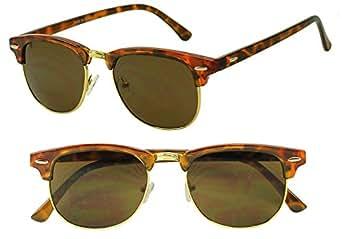 Premium Retro Horned Rim Clubmaster Sunglasses Tortoise Gold Metal Half Frame Shades