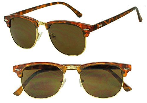 Classic Round Half Frame Horned Rim Inspired 80s Sunglasses (Tortoise, - For Sunglasses Narrow Faces Women's