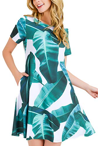 ICONOFLASH Women's Plus Size White Palm Leaf Print Fit and Flare Dress with Pockets - Casual Summer Beach Sundress 3X-Large