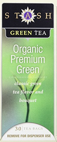Stash Tea Organic Premium Green Tea, 30 Count Tea Bags in Foil (Pack of 6)