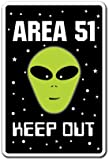 Area 51 Alien Sign | Indoor/Outdoor | Funny Home Décor for Garages, Living Rooms, Bedroom, Offices | SignMission Parking Space Aliens Roswell Gift Spacemen Et Ufo Gag Funny Sign Wall Plaque Decoration