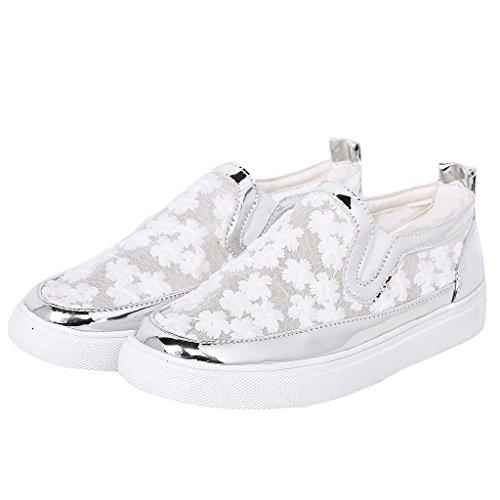 ... Kvinner Mesh Blonder Loafers Plattform Brodert Blomster Sneakers Av  Kjære Tid Hvit ...