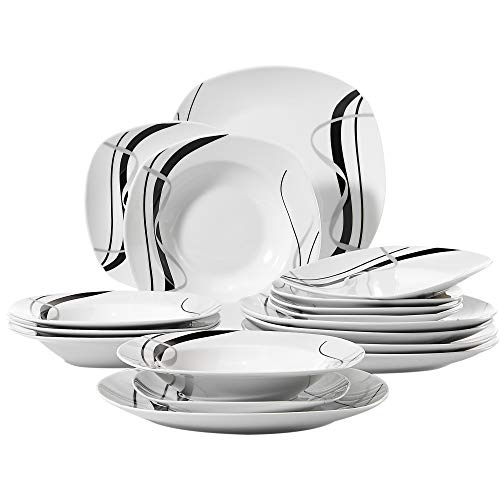 VEWEET 18-Piece Porcelain Ivory White Dinnerware Set Black Stripe Patterns Plate Sets, Dinner Plate, Soup Plate, Dessert Plate, Service for 6 (FIONA Series) ()