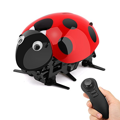 Intelligent Ladybug Robot, Zooawa Wireless Remote Control Electronic Toy RC Bionic Insect Digital Pet with Rechareable Battery for Kids over 7 Years Old - Black + (Ladybug Robot)