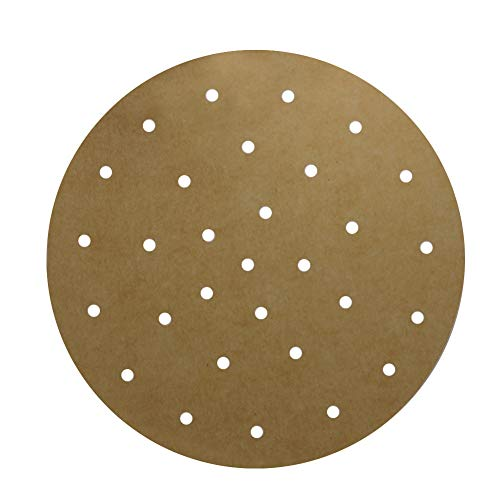 Unbleached Air Fryer liner, Set of 100, 9 Inch Unbleached Perforated Parchment Paper/Bamboo Steamer Liner/Round Parchment Paper for Air Fryer, Steaming Basket and More (6/7/8/10 Inch Available)
