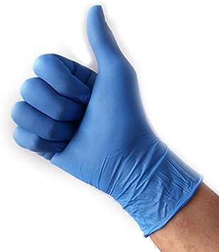 ACECITY 100 piezas de guantes médicos desechables de nitrilo azul, guantes de látex de caucho de nitrilo gruesos quirúrgicos antideslizantes para la limpieza de la cocina (XL)