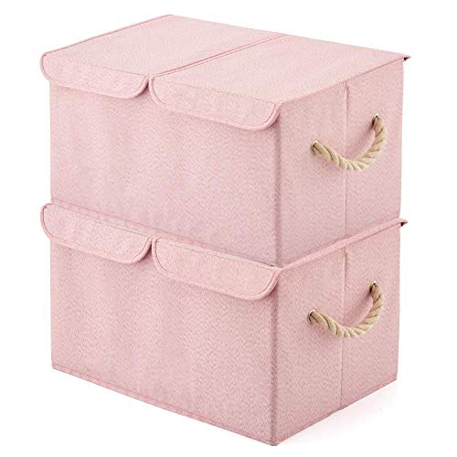 EZOWare Large Storage Boxes [2-Pack] Large Linen Fabric Foldable Storage Cubes Bin Box Containers with Lid and Handles for Nursery, Children, Closet, Bedroom, Living Room - Pink]()
