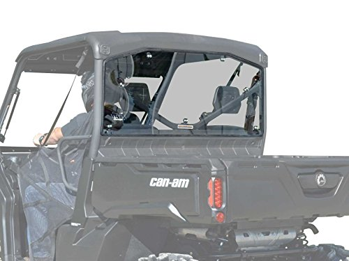 SuperATV Can-Am Defender Heavy Duty Rear Windshield (2016+) - Clear Standard Polycarbonate - Easy to Install! by SuperATV.com