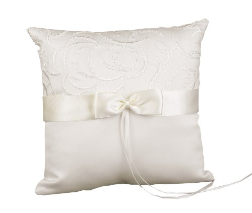 Hortense B. Hewitt Wedding Accessories Satin and Swirls Ring Pillow, Ivory, 8-Inch Square Cushion Square Ring