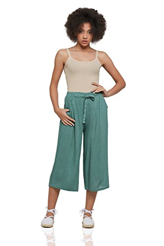 ton Culottes With Pockets Wide Leg Cropped Pants High Waist Loose Flowy Capris (Large, Light Green) (Wear Gaucho Pants)
