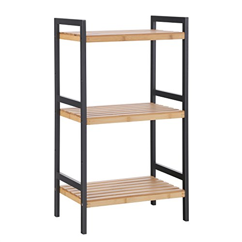 SONGMICS Multifunctional 3-Tier Storage Rack,Shelving Unit Stand Tower,Bookcase for Bathroom Living Room Kitchen 17.7 x 12.4 x 31.5, Holds up to 80 lbs,100% Bamboo Wood Black Natural UBCB73BN by SONGMICS