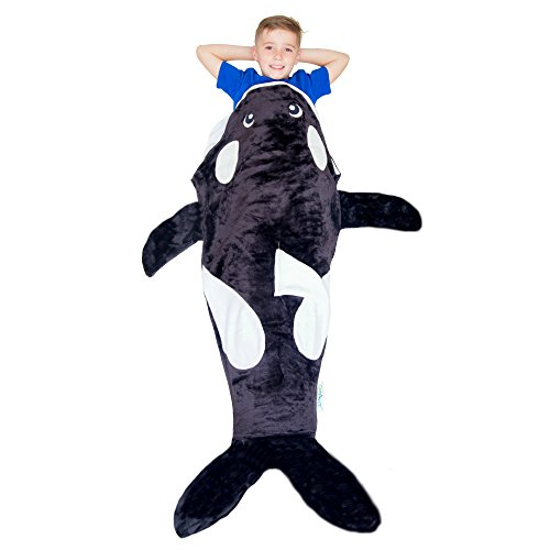 Cozy Whale Blanket For Children, Pocket Style Kids Tail Blanket Made of Extra-Soft & Durable Fabric | Orca Design | Warm & Comfortable, Sleep Sacks for Movie Night, Sleepovers, Camping