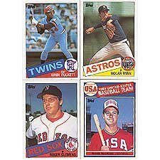 1985 Topps Baseball Complete 792 Card Set with Kirby Puckett, Roger Clemens and Mark McGwire Rookie Cards Plus Other Stars Including Ryan, Brett, Mattingly, Ripken, Gooden, Sandberg, Boggs, Henderson, Gwynn - Card 1985 Topps Set Baseball