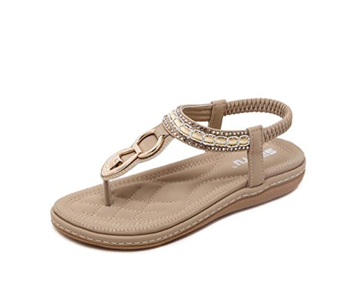 Beige Bohemia Blue Moda Zapatos DANDANJIE Sandalias de Antideslizantes Verano Mujer Moda Cool Beige cómodos Zapatos Playa de Zapatos Sandalias de caseros wqRqt4