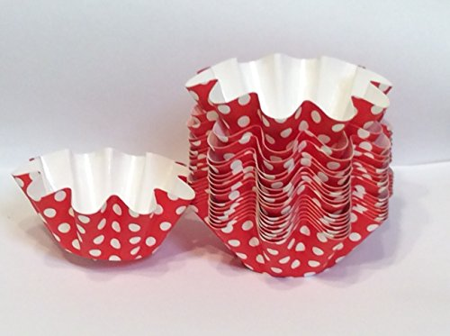 Floret Brioche Cup, Red with White Dots Disposable, Bake and serve brioche floret paper baking cups self- standing mold, -100 pc.