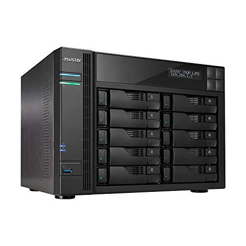 Asustor NAS 10 Bay Sem Discos Servidor NAS Quad Core AS6210T