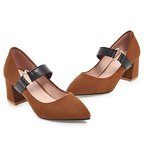 Coolcept Mujer Tacon Ancho Bombas Zapatos Brown