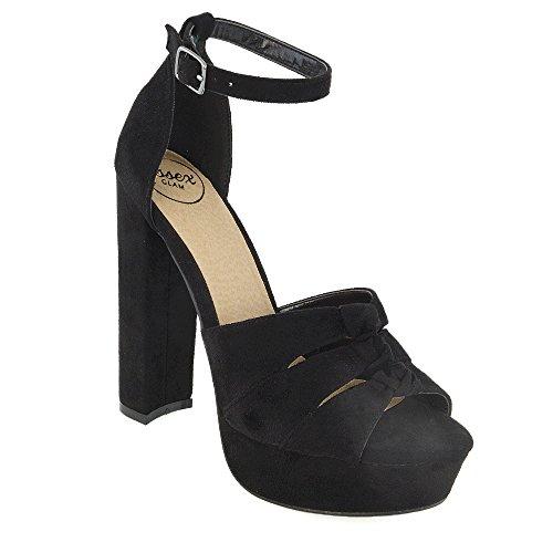 Tacco ESSEX Donna Scamosciato Plateau Cut Scamosciato Alto Nero Out Finto GLAM Scarpa Sandalo con Toe Finto Peep Lacci Er67rq