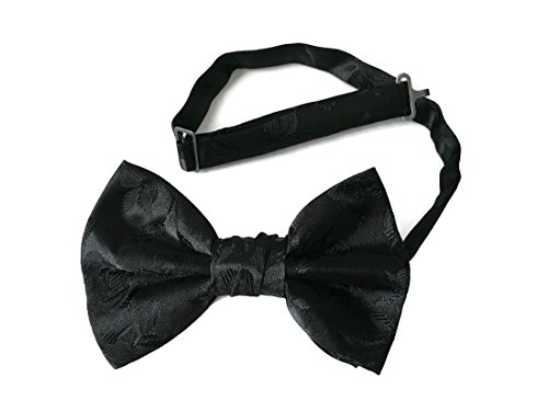 Wrap Lavender In Butterfly (Men's Black Bow Tie Rose Satin Jacquard Pre-tied (Mens, Black) (Mens))