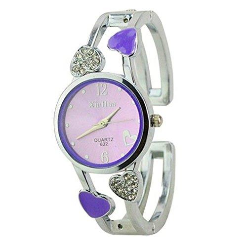 ELEOPTION Women's Bangle Watch Bracelet Design Quartz Watch with Rhinestone Round Dial Stainless Steel Band Wrist Watches Free Women's Watch Box - Watch Bracelet Ladies Red