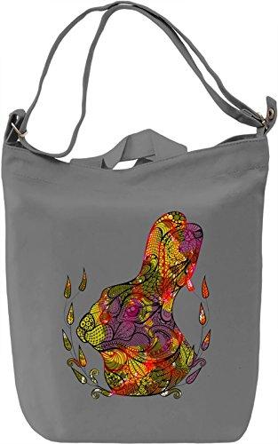 Funky Rabbit Head Borsa Giornaliera Canvas Canvas Day Bag  100% Premium Cotton Canvas  DTG Printing 