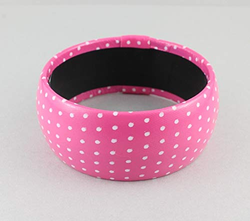 - Pink White faux leather polka dot dots 1.25 wide bangle bracelet 2.5 opening