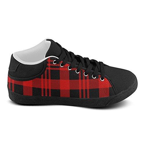 InterestPrint jeans Canvas Chukka Fashion Sneakers for Women Lumberjack Seamless Pattern T0o4NL
