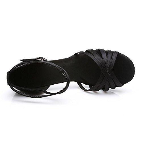 HROYL Zapatos de baile/Zapatos latinos de satén mujeres ES7-F13 7CM Negro