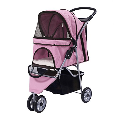 Giantex Three Wheel Pet Stroller Cart Cat Dog Foldable Carrier Travel Jogger 5 Color (Pink)