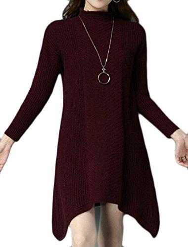 M Delle Maglione Dolcevita amp; Donne W amp; S Pullover Mezzo Rosso Allentato Vino qBxqRrFv