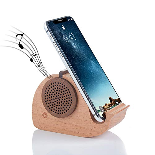 Wireless Bluetooth Wooden Speaker with Smart Phone Stand Holder on Desktop(Dolphin Shape), Suitable for iPhone ipad Samsung Huawei and Other Bluetooth Accessories, -