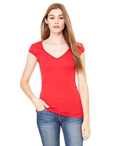 Bella + Canvas Ladies Sheer Mini Rib Cap-Sleeve Deep V-Neck T-Shirt - Red - L - (Style # B8705 - Original Label)