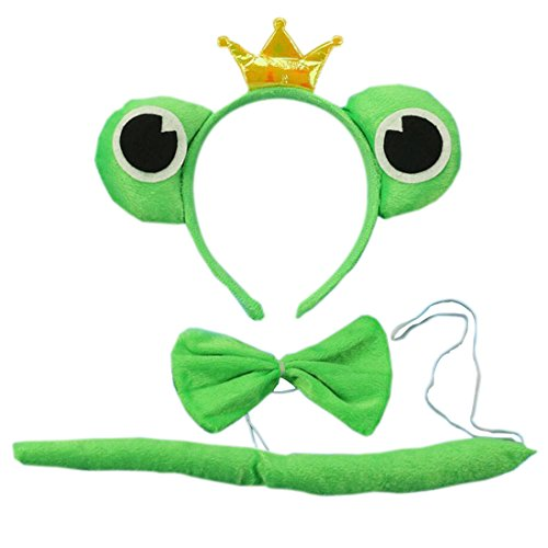 Marlegard 3PCs Funny Dalmatian Milk Leopard Costume Headband Ear with Tail Tie (Green Crown Frog)