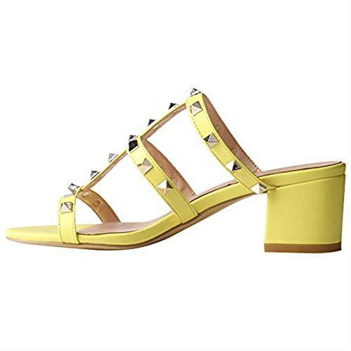 Women Toe Block Pumps Open Pan Heels Dress 5 Slide Heel Chunky Sandals Strappy Slingback Studded Studs 13 5cm Yellow Caitlin Cgx5wqw