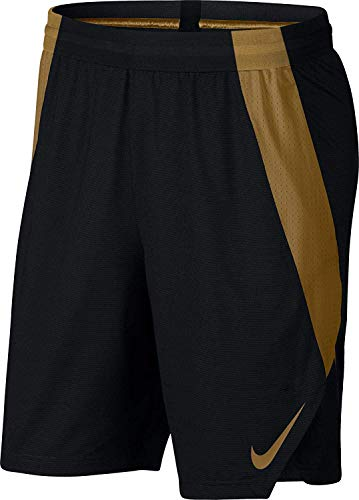 NIKE Mens Ultimate Performance Stretch-Woven Sweat Wicking Basketball Shorts ( Blk/Blk/Elemental Gold/ - Gold Shorts Nike Training