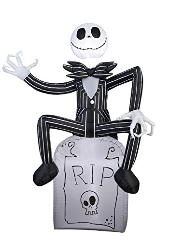 Jack Skellington On Tombstone Airblown Inflatable 3.5' Tall