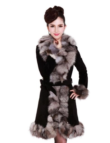 Senfloco Women's 100% Real Genuine Leather Long Coat with Fox Fur Collar