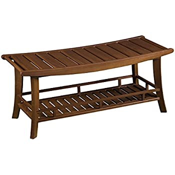 Amazon.com: Furniture HotSpot – Teak Outdoor Bench/ Shower Bench ...