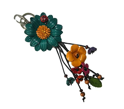 Bella Pazzo Turquoise Handmade Sunflower Flower Leather Keychain Key Ring Clasp Bag Charm Handbag Purse charm Car Key Pendant