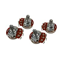 Musiclily Guitar Full Size Pots B500K Split Knurled Short 15mm Shaft Linear Taper Potentiometers for Stratocaster and Telecaster Electric Guitar Bass Parts(Pack of 4)