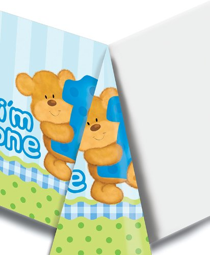 (Creative Converting Bears First Birthday Plastic Table Cover, Blue, Rectangle 54 x 108