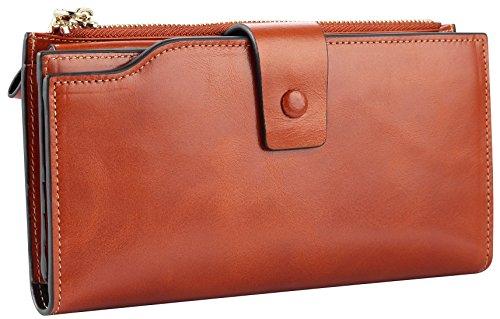 Travelambo Womens RFID Blocking Large Capacity Luxury Waxed Genuine Leather Clutch Wallet Multi Card Organizer (tan) by Travelambo (Image #4)