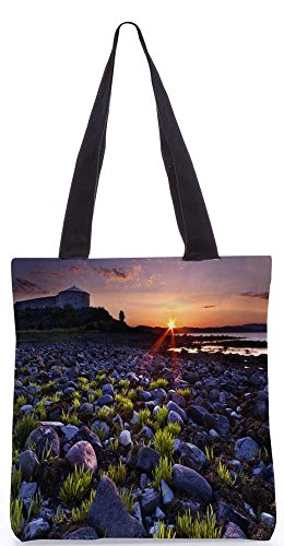 Snoogg Sonnenuntergang Auf Dem Felsigen Ufer Tragetasche 13,5 X 15 In Shopping-Dienstprogramm Tragetasche Aus Polyester Canvas