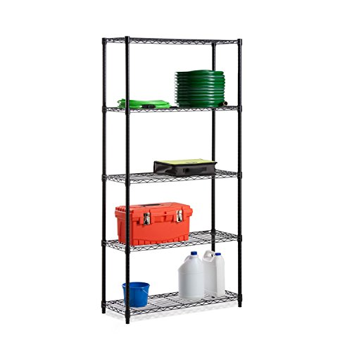 Honey-Can-Do SHF-01442 Adjustable Industrial Storage Shelving Unit, 200-Pounds Per Shelf, Black, 5-Tier, 36Lx14Wx72H