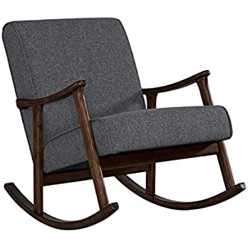 Amazon Com Mid Century Retro Wood Gray Fabric Upholstery